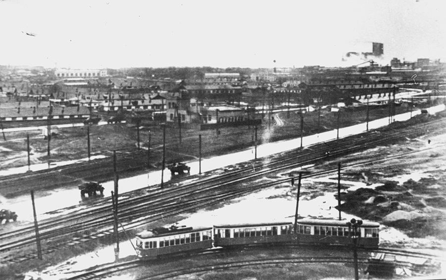 Общий вид посёлка первостроителей. 1935 год